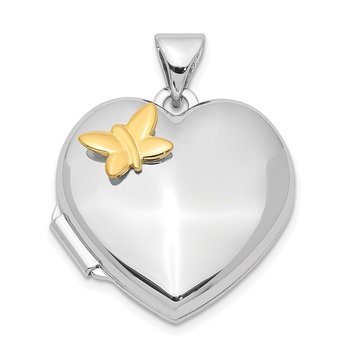 Sterling Silver Rhodium-plated Heart w/Gold-plating Butterfly Locket
