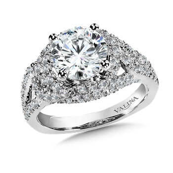 Diamond Engagement Ring Mounting with Side Stones in 14K White (1.04 ct. tw.)
