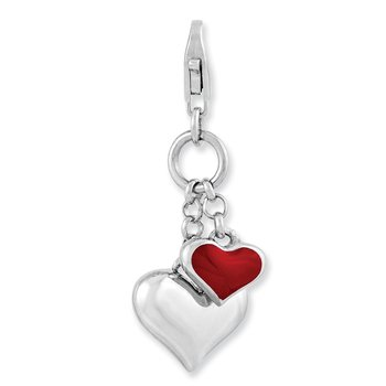 Sterling Silver Amore La Vita Rhod-pl Red Enameled Double Heart Charm