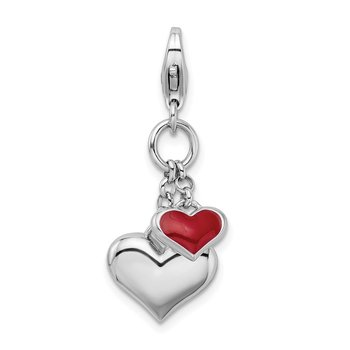 Sterling Silver Rhodium Plated Enameled Double Heart w/Lobster Clasp Charm