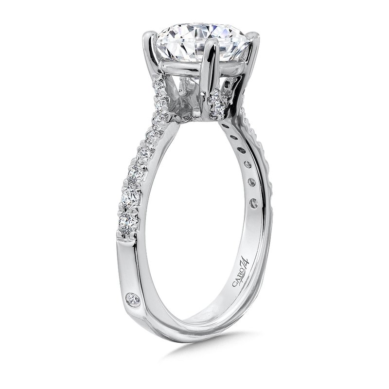 Criss Cross Engagement Ring with Side Stones in 14K White Gold (2ct. tw.)