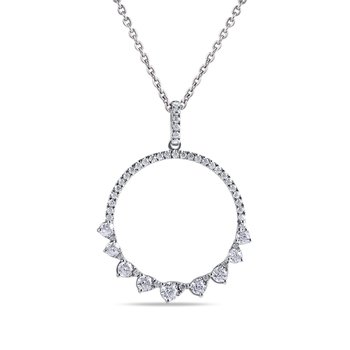 "14K Round Pendant 51 Diamonds 0.64C, 18"" chain"