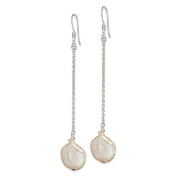 Sterling Silver FW Cultured Coin Pearl Dangle Earrings
