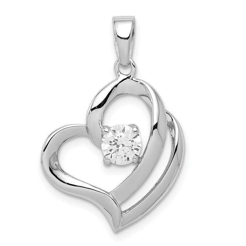 Quality Gold Sterling Silver Rhodium Plated CZ Heart Pendant