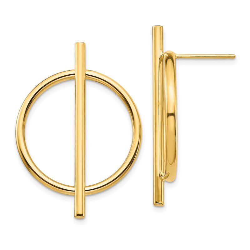 Quality Gold 14K Circle & Bar Post Earrings