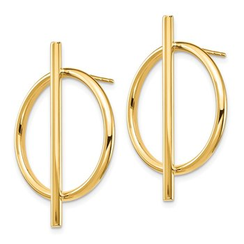 14K Circle & Bar Post Earrings