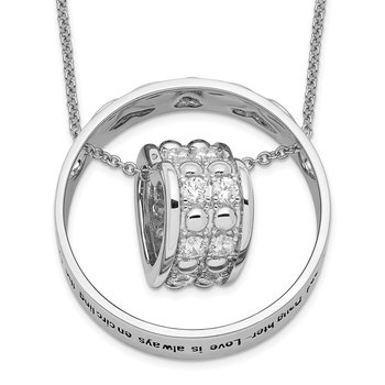 Sterling Silver CZ Antiqued Mother & Daughter 18in. Necklace
