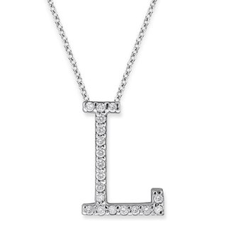 "Diamond All Star Initial ""L"" Necklace in 14K White Gold with 19 diamonds weighing .19ct tw."