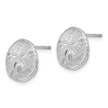 14k White Gold Sand Dollar Post Earrings
