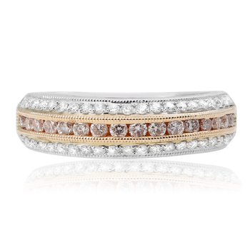 Layered Tri-Colored Diamond Band