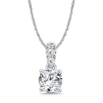 Diamond Solitaire Pendant with Diamond Bale in 14K White Gold (1-1/4 ct. tw.)