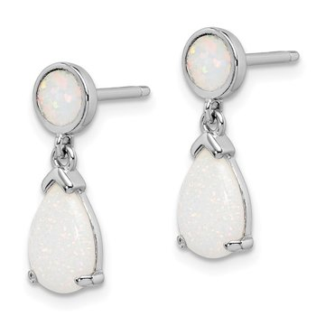 Sterling Silver Rhodium-plated Created Opal Teardrop Dangle Post Earrings