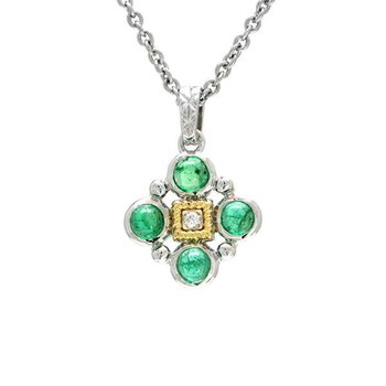 18KT & STERLING SILVER EMERALD CABOCHON AND DIAMOND PENDANT WITH CHAIN