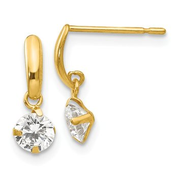 14k Madi K CZ Children's Dangle Post Earrings