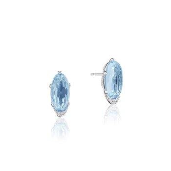 Oval-Shaped Gem Earrings with Sky Blue Topaz