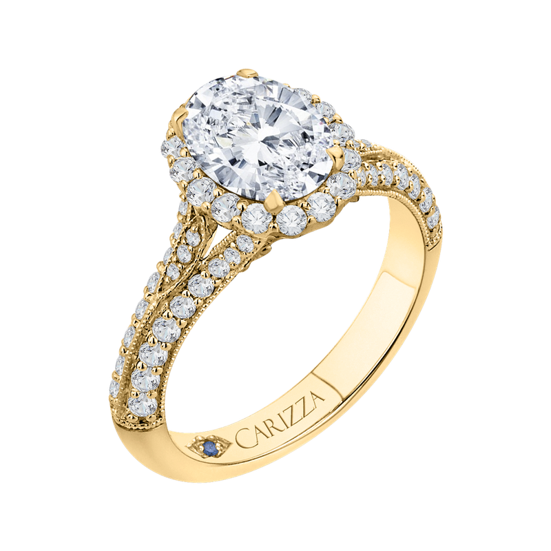 Carizza Oval Diamond Halo Vintage Engagement Ring In 14K Yellow Gold (Semi-Mount)