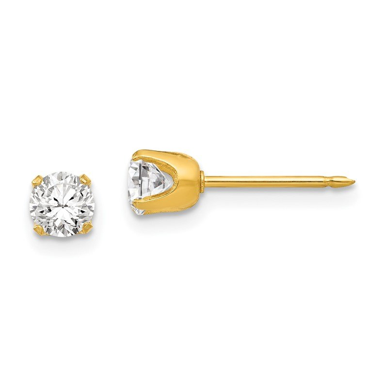 Arizona Diamond Center Collection Inverness 24k Plated Stainless Steel 5mm CZ Post Earrings