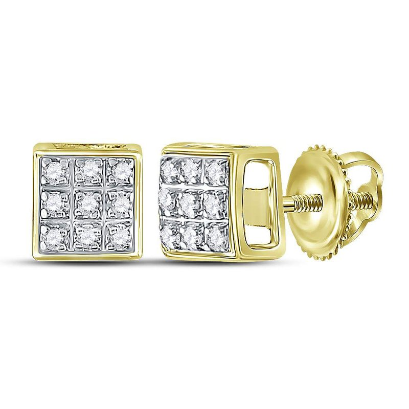 Gold-N-Diamonds, Inc. (Atlanta) 10kt Yellow Gold Mens Round Diamond Square Cluster Stud Earrings 1/20 Cttw