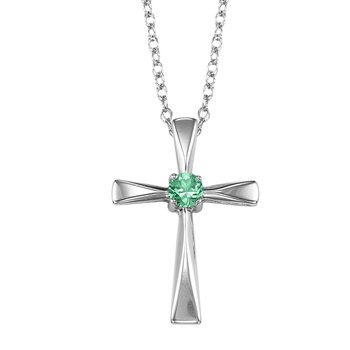 Silver Emerald Cross Pendant
