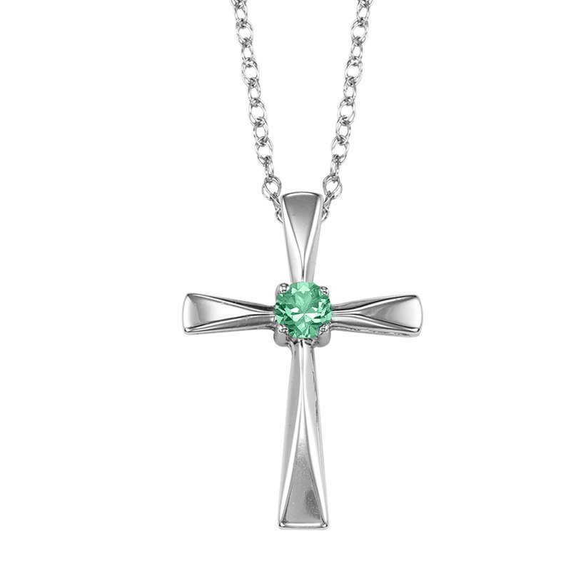 Mixables Silver Emerald Cross Pendant