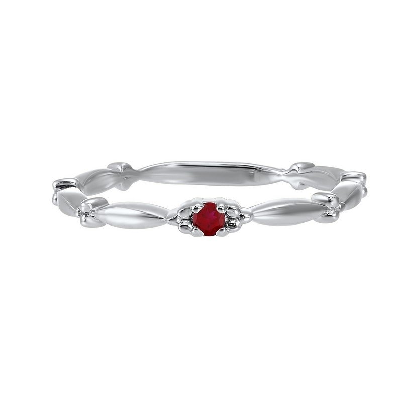 Gems One Garnet Solitaire Antique Style Slender Stackable Band in 10k White Gold