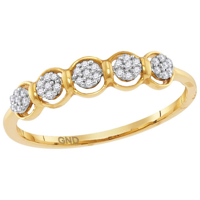 Kingdom Treasures 10kt Yellow Gold Womens Round Diamond Cluster Ring 1/10 Cttw