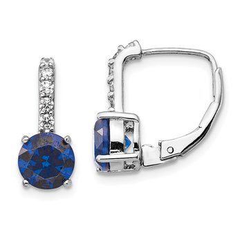 Cheryl M SS CZ & Lab Created Blue Spinel Leverback Earrings