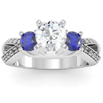 Sapphire Accented Pave Diamond Engagement Ring