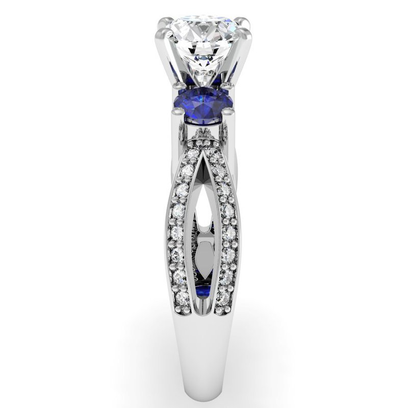 California Coast Designs Sapphire Accented Pave Diamond Engagement Ring