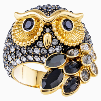 March Owl Motif Ring, Multi-colored, Gold-tone plated