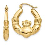 Quality Gold 14k Polished Claddagh Hoop Earrings