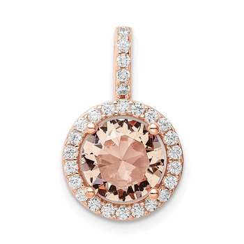 Sterling Silver Rose-tone / CZ Round Halo Pendant