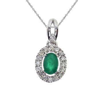 14k White Gold  Oval Emerald and Diamond Halo Pendant