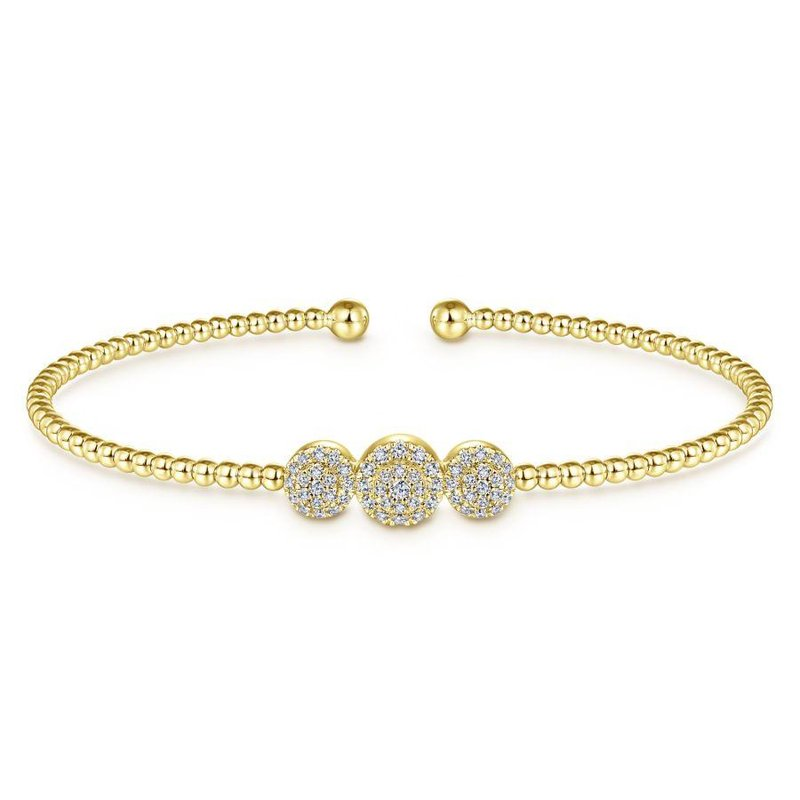 Gabriel Fashion 14K Yellow Gold Bujukan Bead Cuff Bracelet with Three Pavé Diamond Stations