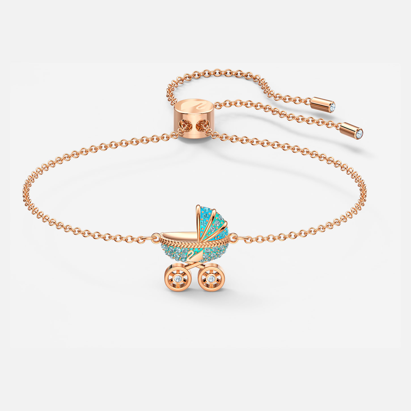 Swarovski Sweet Carriage Bracelet, Light multi-colored, Rose-gold tone plated