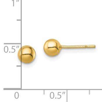 Sterling Silver Gold-Tone Polished 5mm Ball Post Earrings