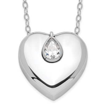 Sterling Silver CZ Missing You Ash Holder 18in. Necklace