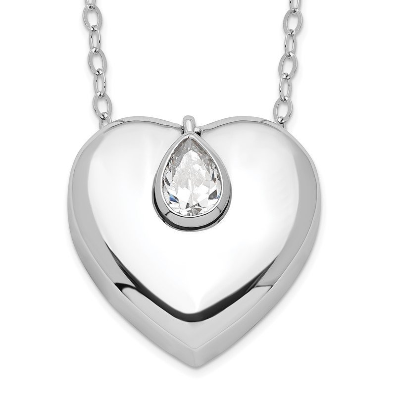 J.F. Kruse Signature Collection Sterling Silver CZ Missing You Ash Holder 18in. Necklace