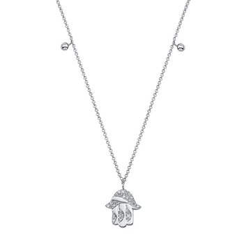 White Gold Piety Hamsa Charm Necklace
