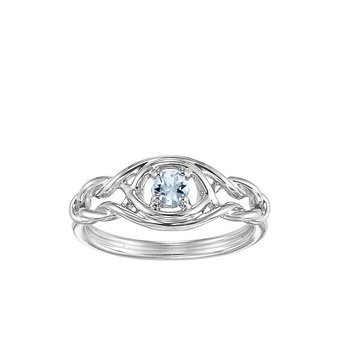 Silver Aquamarine Ring (Available In all BirthStones)
