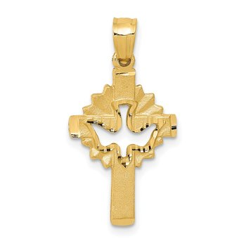 14k Dove Cross Charm
