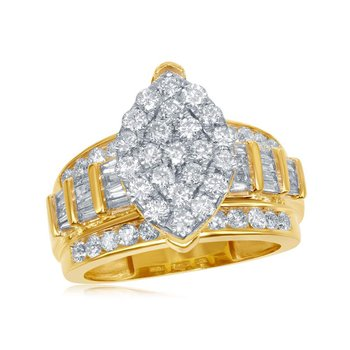 10kt Yellow Gold Womens Diamond Oval Cluster Bridal Wedding Engagement Ring 2.00 Cttw