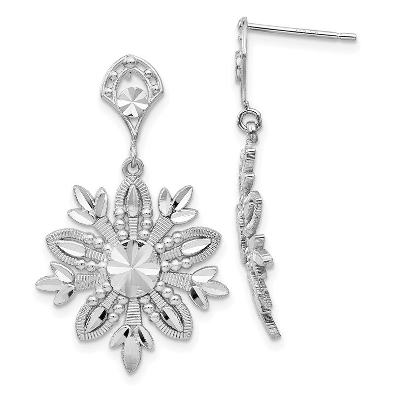 Quality Gold 14k White Gold Fancy Snowflake Dangle Earrings