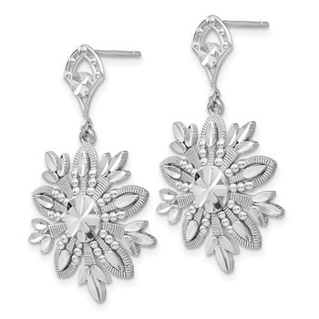 14k White Gold Snowflake Dangle Earrings