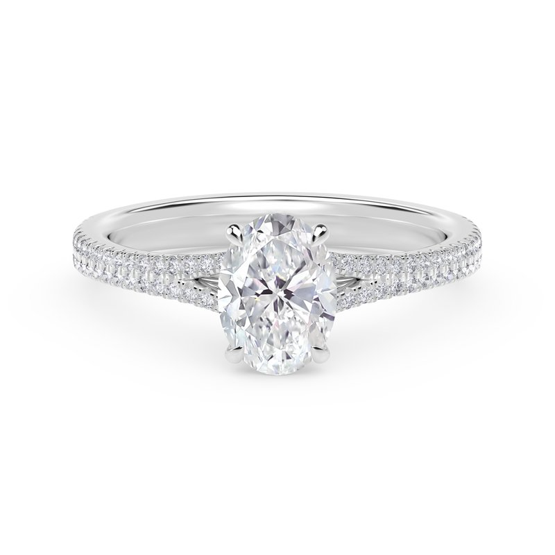 Forevermark Engagement and Commitment Forevermark Icon™ Setting Oval Engagement Ring with Two Row Pave Band