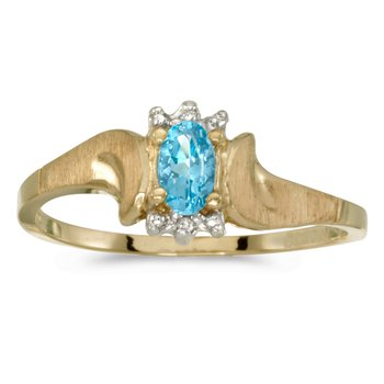 14k Yellow Gold Oval Blue Topaz And Diamond Satin Finish Ring
