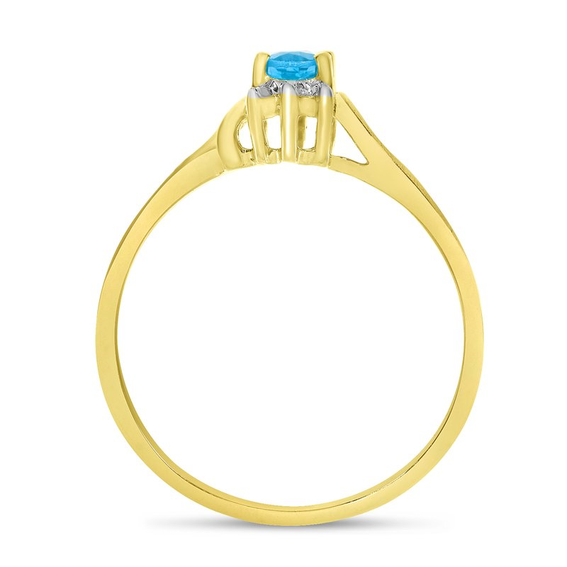 Color Merchants 14k Yellow Gold Oval Blue Topaz And Diamond Satin Finish Ring