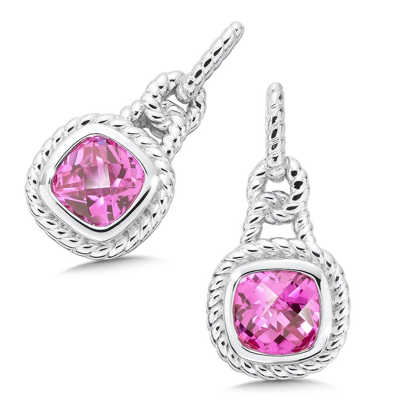 Sterling Silver Created Pink Sapphire Post Earrings