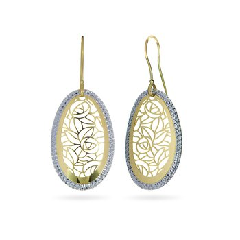 14K YW Laser Cut Dangling Earring