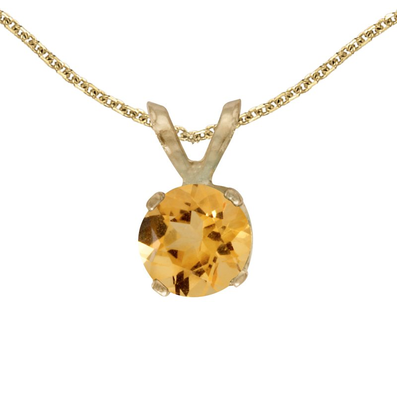 Color Merchants 14k Yellow Gold Round Citrine Pendant